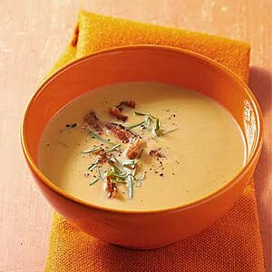 Smoky Cauliflower Soup with Crumbled Bacon