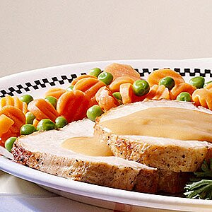 Roast Pork with Twice-Baked Potatoes and Gravy