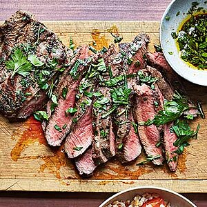 Flatiron Steak with Fresh Herb Butter Sauce
