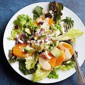 Clementine and Avocado Salad with Hummus Dressing