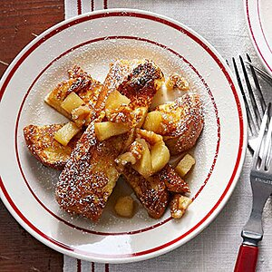 French Toast Sticks with Maple-Apple-Nut Topping