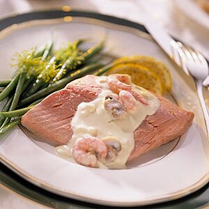 Poached Salmon With Shrimp Sauce