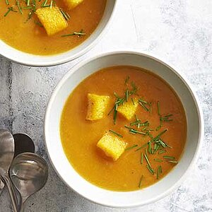 Gluten-Free Butternut Squash Soup with Polenta Croutons