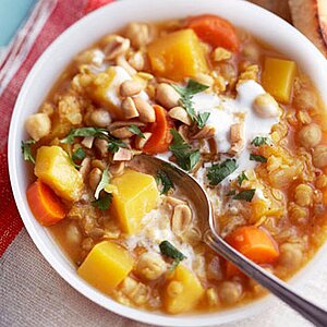 Pumpkin, Chickpea and Red Lentil Stew