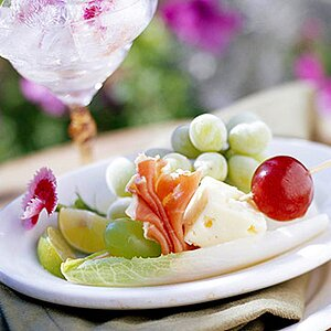 Grapes and Prosciutto with Cheese on a Skewer