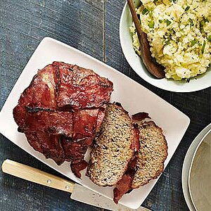 Bacon-Wrapped Meat Loaf and Smashed Potatoes