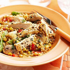 Corn-Mushroom Risotto with Chicken