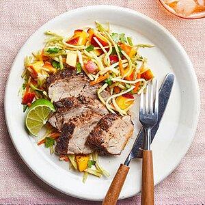 Jamaican Pork Tenderloin with Broccoli-Peach Slaw
