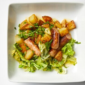 Sausage with Skillet Potatoes and Buttered Cabbage