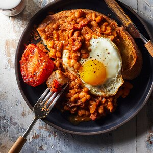 Beans on Toast with Fried Egg