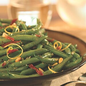 Sizzled Green Beans with Crispy Prosciutto & Pine Nuts