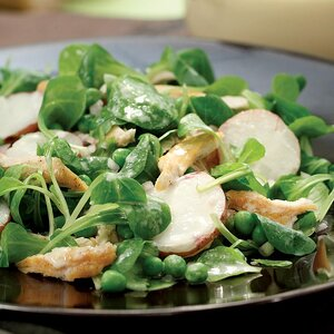 Mache & Chicken Salad with Honey-Tahini Dressing