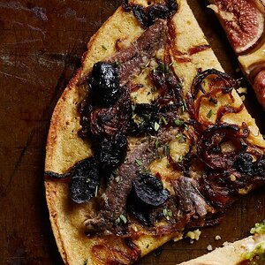 Caramelized Onion, Olive & Anchovy Socca