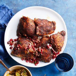 Coffee-Rubbed Chicken Thighs with Pomegranate Salsa