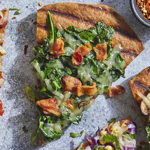 Collards & Bacon Grilled Pizza