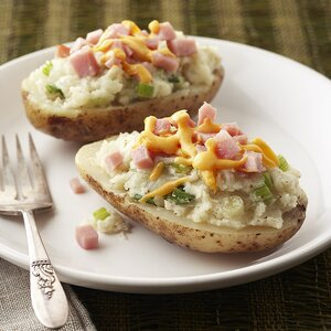 Double-Cheese Potatoes with Ham