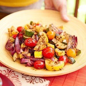Grilled Summer Squash, Onions, and Tomatoes