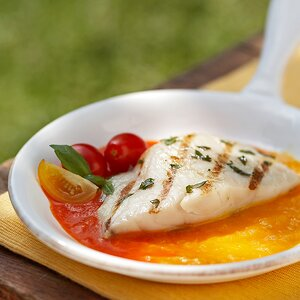 Grilled Snapper with Red Pepper Sauce