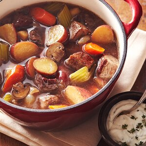 Beef Stew with Garlic-Thyme Sour Cream