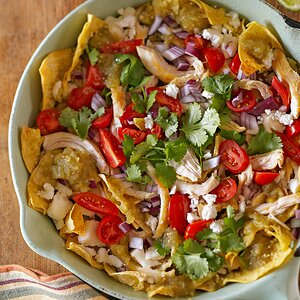 Cilantro-Chicken Chilaquiles with Crumbled Queso Fresco