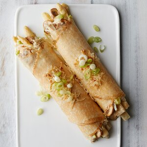 Crab, Mushroom and Asparagus Crepes
