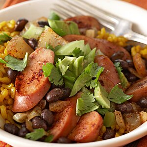 Black Beans & Yellow Rice with Fresh Tomatillo Topping