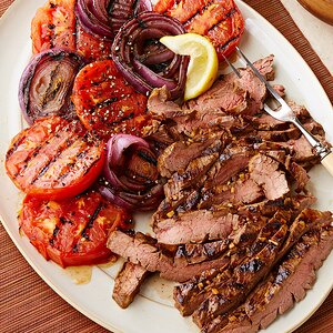 Molasses-Mustard Marinated Flank Steak with Grilled Tomatoes & Onions