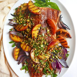 Grilled Salmon and Peaches with Basil-Pistachio Gremolata