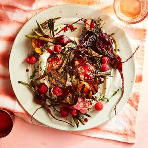 Grilled Baby Beets with Raspberry-Thyme Glaze