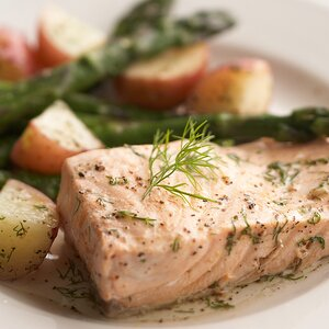 Salmon & Spring Vegetables with Dill