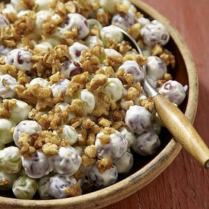 Creamy Grape Salad with Candied Walnuts