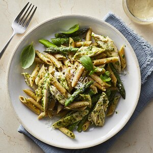 Chicken Pesto Pasta with Asparagus