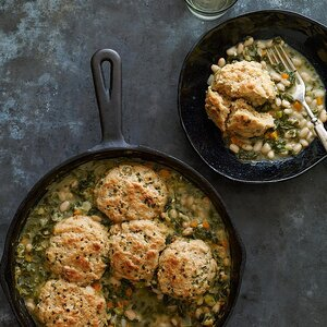 Kale & White Bean Potpie with Chive Biscuits