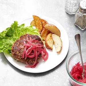 Beef & Bulgur Burgers with Blue Cheese