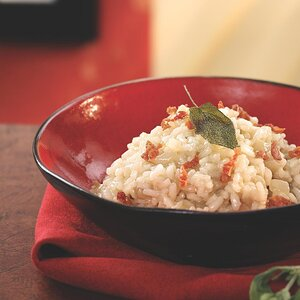 Pear Risotto with Prosciutto & Fried Sage Leaves