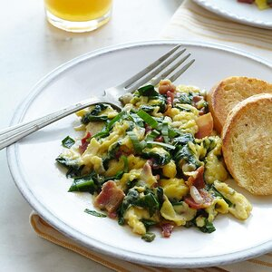 Scrambled Eggs with Ramps & Bacon