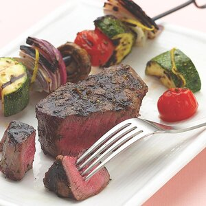 Grilled Filet Mignon with Vegetable Kebabs