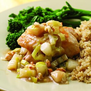 Chicken Thighs with Pear & Leek Sauce