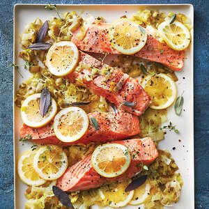 Slow-Cooker Citrus Salmon with Melted Leeks