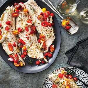 Slow-Cooker Sea Bass with Tomato-Fennel Relish