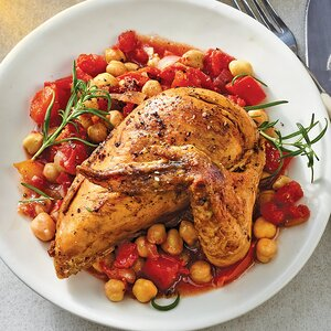 Slow-Cooker Chickpea & Tomato Stewed Chicken