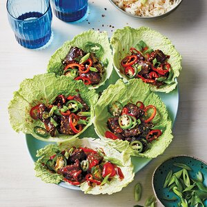 Slow-Cooker Korean Beef in Cabbage Leaves