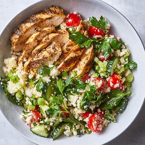 """Spiced Grilled Chicken with Cauliflower """"Rice"""" Tabbouleh"""