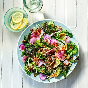 Summer Greens Salad with Tomato Vinaigrette & Anchovy Breadcrumbs