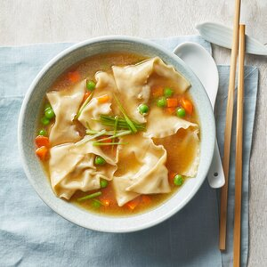 Wonton Soup with Shrimp, Mushrooms & Brussels Sprouts