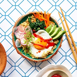 Crispy Rice Bowls with Fried Eggs