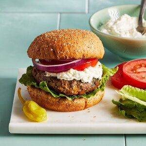 Chickpea & Beef Burgers with Whipped Feta