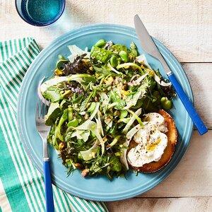 Spring Salad with Pistachios & Burrata Toasts