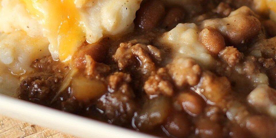 cheesy beef and bean bake recipe