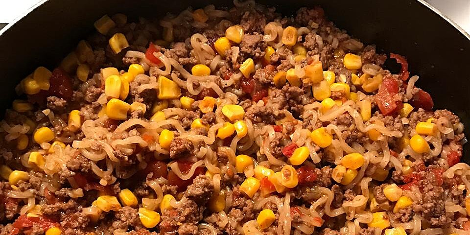 ground beef curly noodle recipe